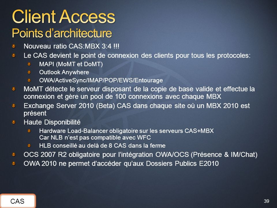 Client Access Points d'architecture