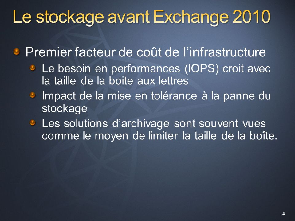 Le stockage avant Exchange 2010