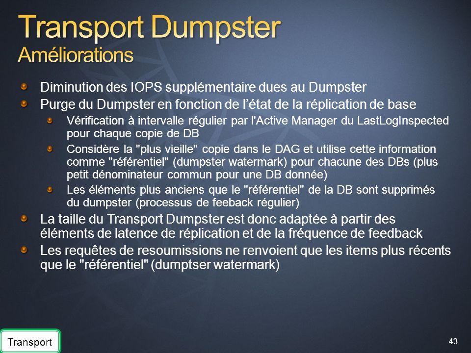 Transport Dumpster Améliorations