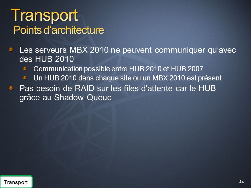 Transport Points d'architecture