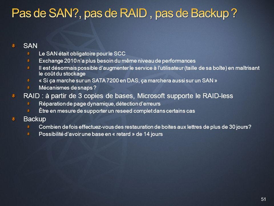 Pas de SAN , pas de RAID , pas de Backup
