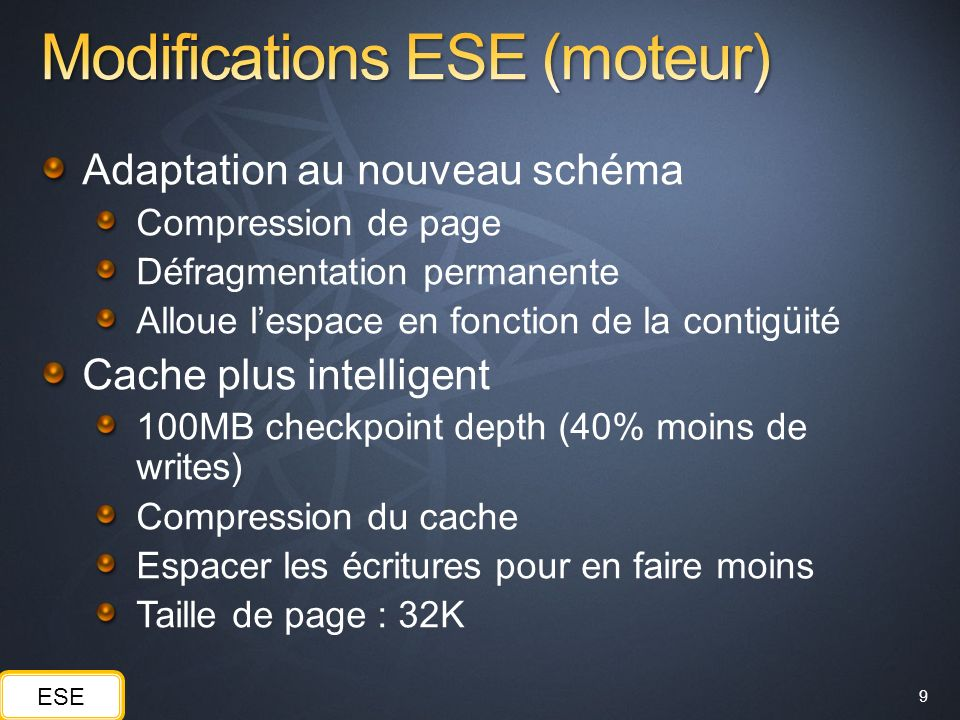 Modifications ESE (moteur)