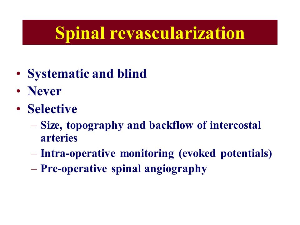 Spinal revascularization