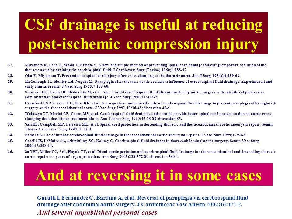 CSF drainage is useful at reducing post-ischemic compression injury
