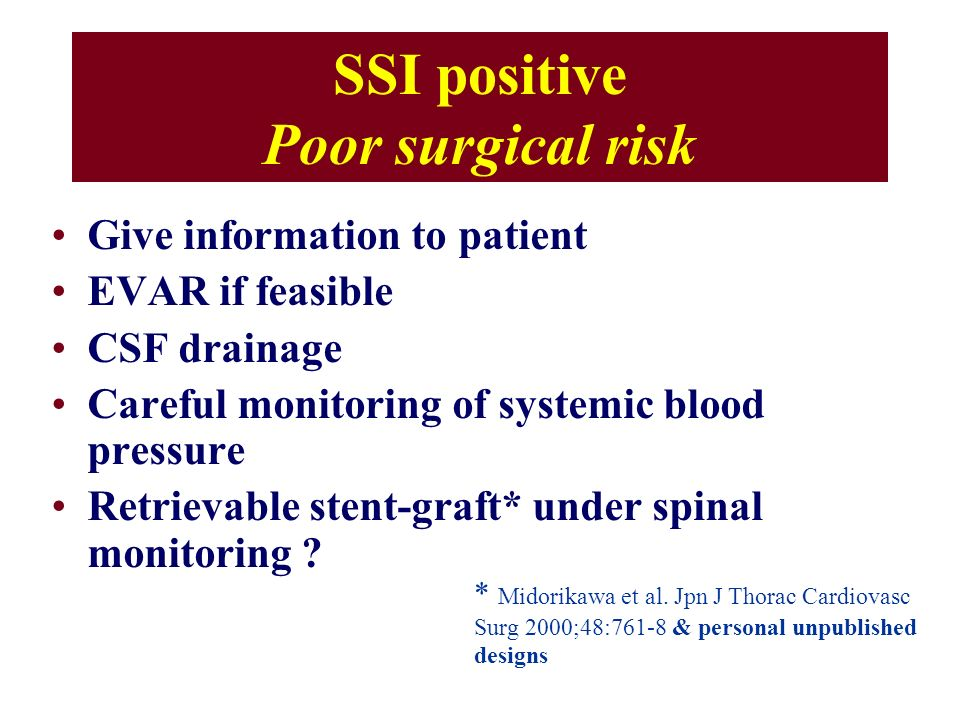 SSI positive Poor surgical risk