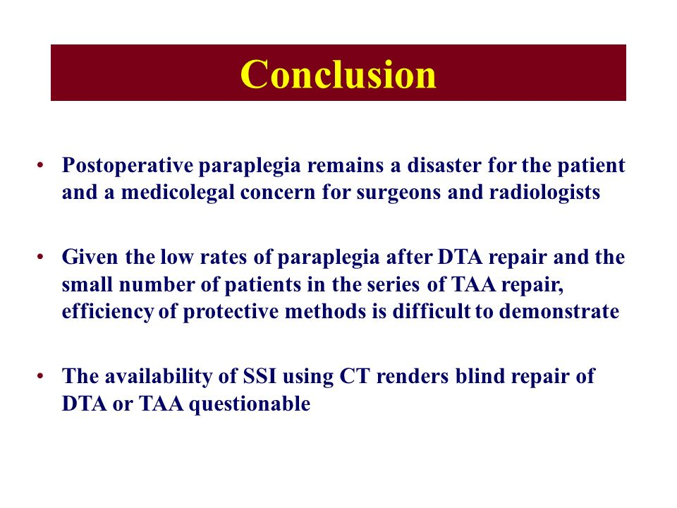 Conclusion Postoperative paraplegia remains a disaster for the patient and a medicolegal concern for surgeons and radiologists.