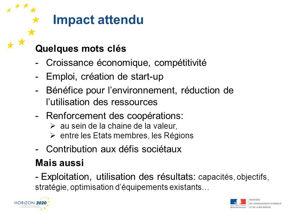 Impact attendu Quelques mots clés Croissance économique, compétitivité