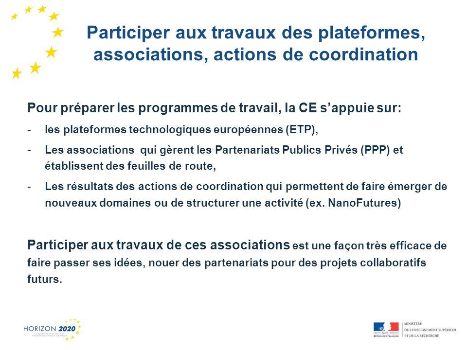Participer aux travaux des plateformes, associations, actions de coordination