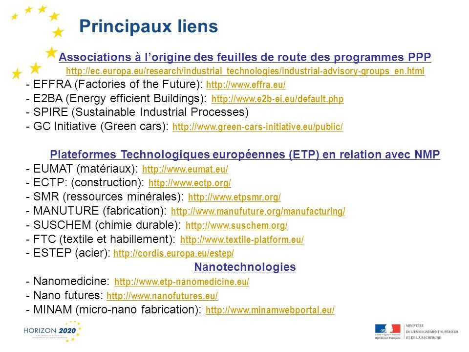 Principaux liens Associations à l'origine des feuilles de route des programmes PPP.