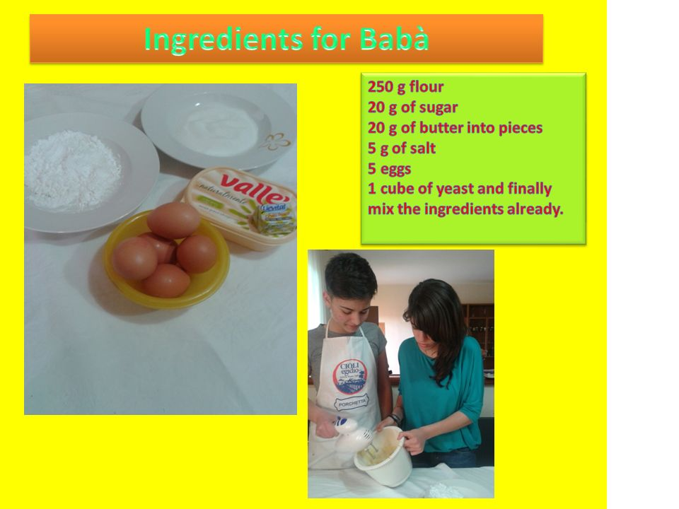 Ingredients for Babà 250 g flour 20 g of sugar