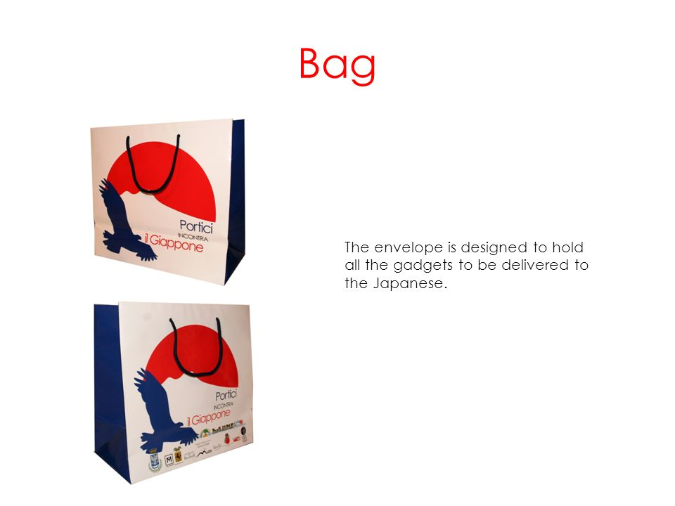 Bag The envelope is designed to hold all the gadgets to be delivered to the Japanese.