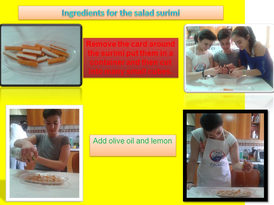 Ingredients for the salad surimi
