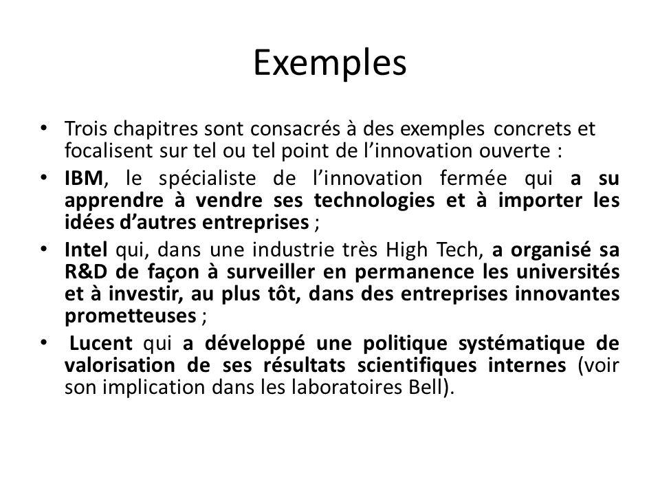 Exemples Trois chapitres sont consacrés à des exemples concrets et focalisent sur tel ou tel point de l'innovation ouverte :