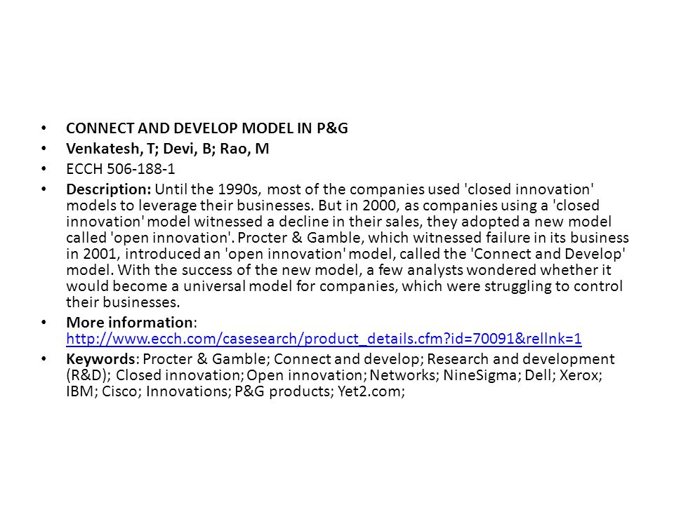 CONNECT AND DEVELOP MODEL IN P&G