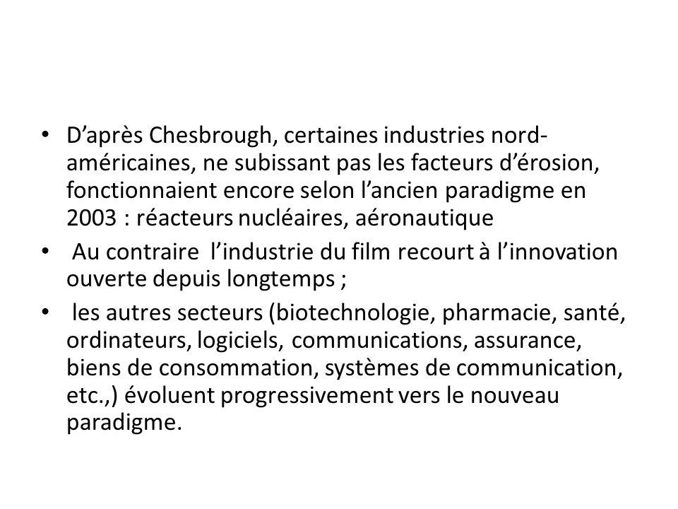 D'après Chesbrough, certaines industries nord-américaines, ne subissant pas les facteurs d'érosion, fonctionnaient encore selon l'ancien paradigme en 2003 : réacteurs nucléaires, aéronautique