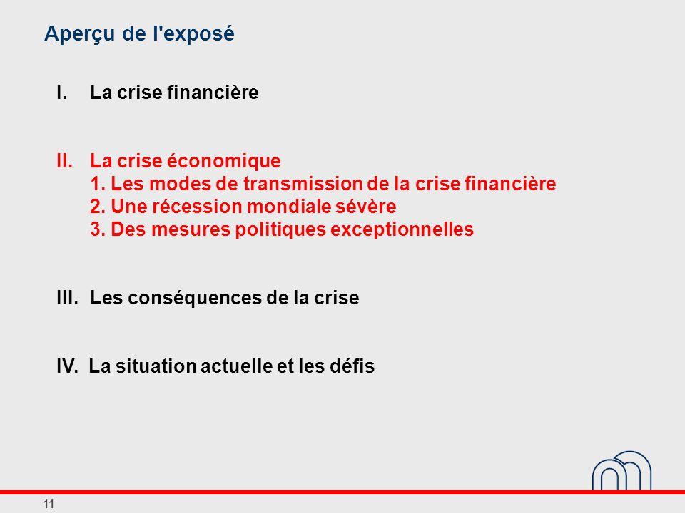 Aperçu de l exposé I. La crise financière II. La crise économique