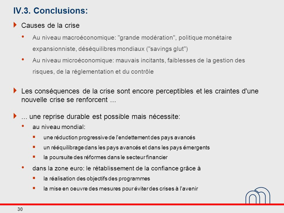 IV.3. Conclusions: Causes de la crise