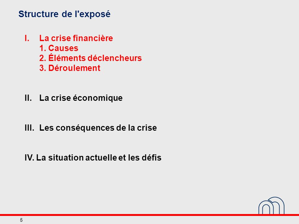 Structure de l exposé I. La crise financière 1. Causes