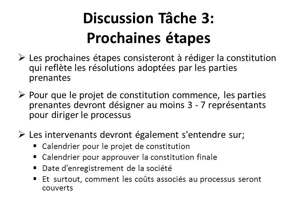 Discussion Tâche 3: Prochaines étapes