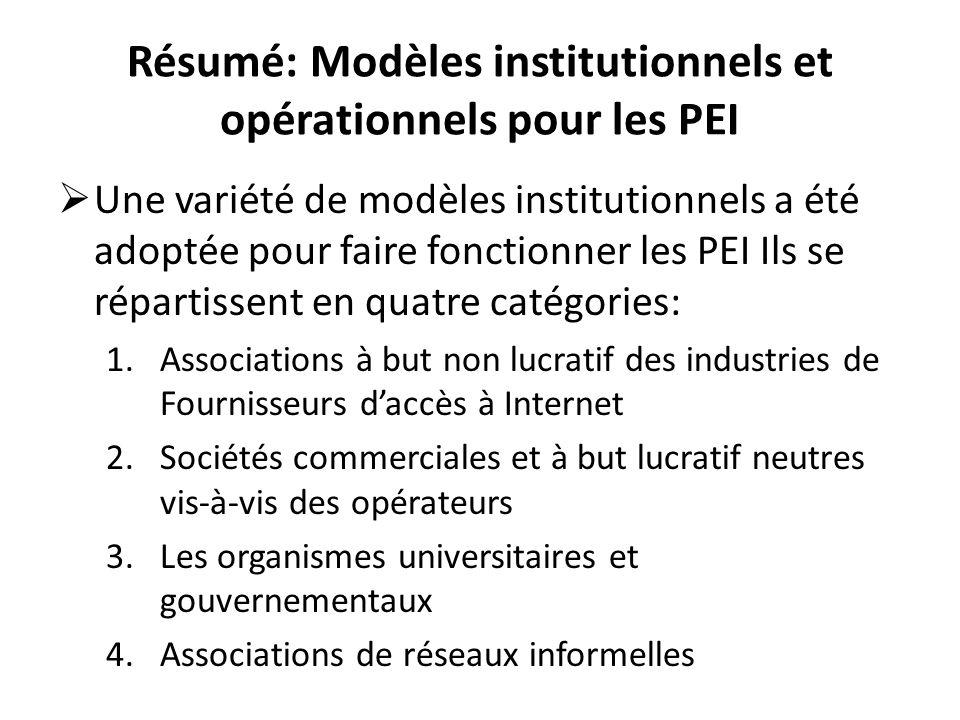 Résumé: Modèles institutionnels et opérationnels pour les PEI