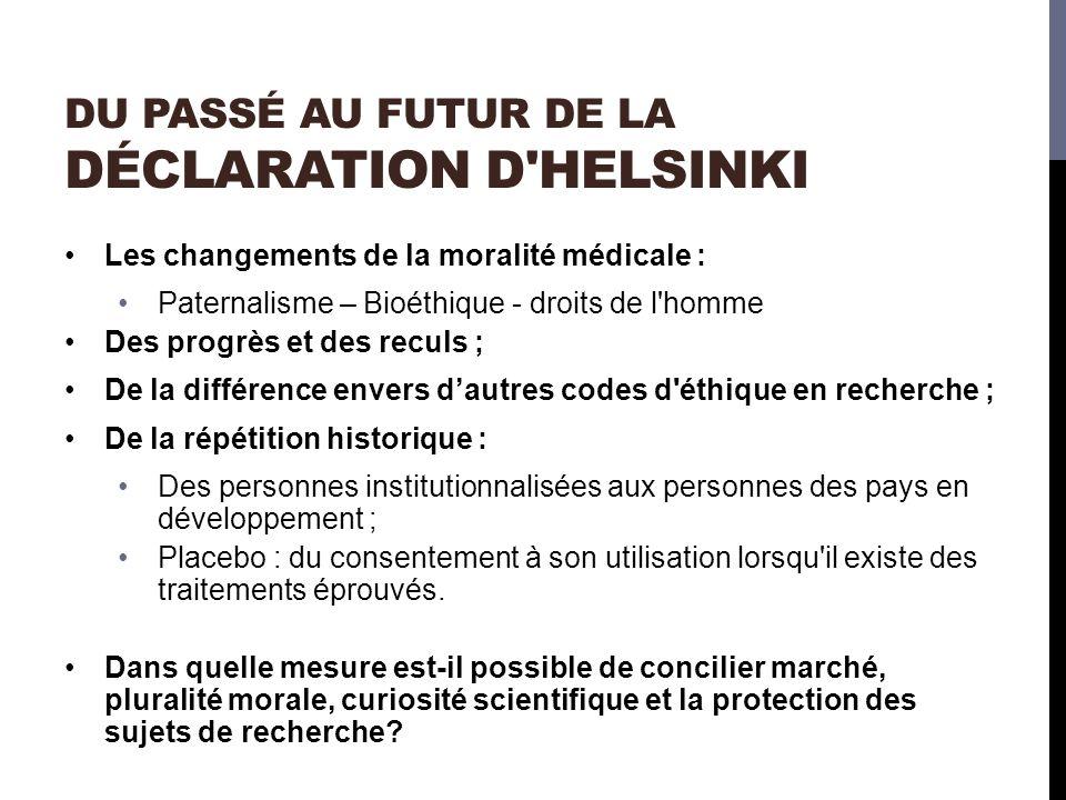 du passé au futur de la Déclaration d Helsinki