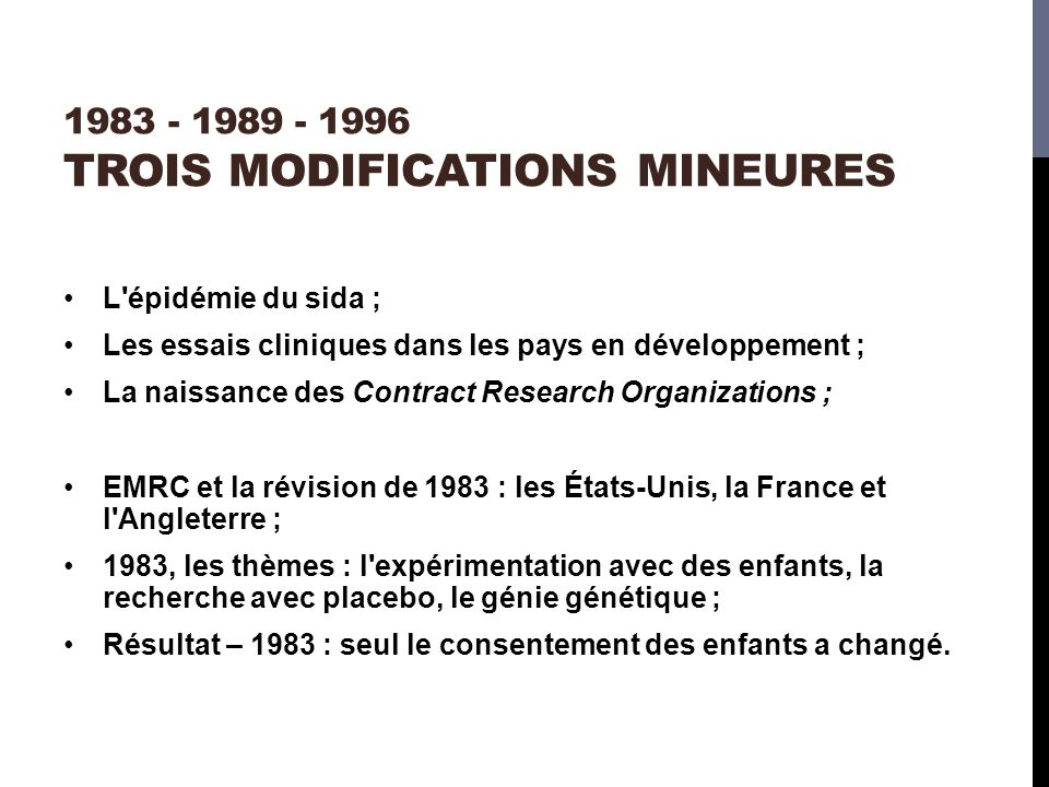 1983 - 1989 - 1996 trois modifications mineures