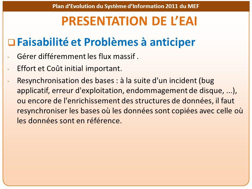 PRESENTATION DE L'EAI Faisabilité et Problèmes à anticiper