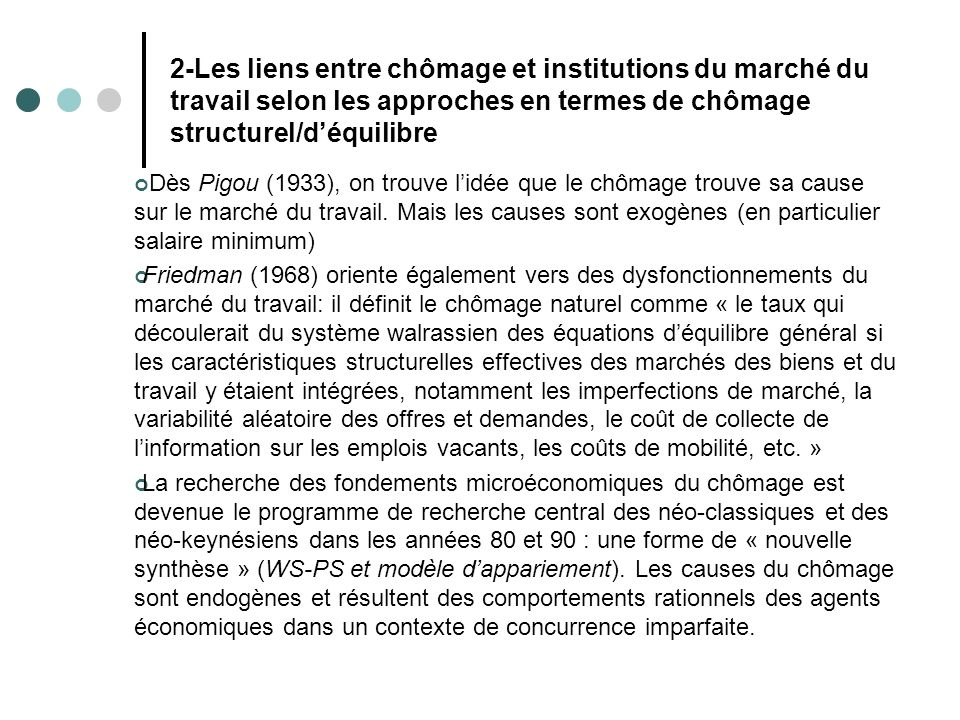 2-Les liens entre chômage et institutions du marché du travail selon les approches en termes de chômage structurel/d'équilibre