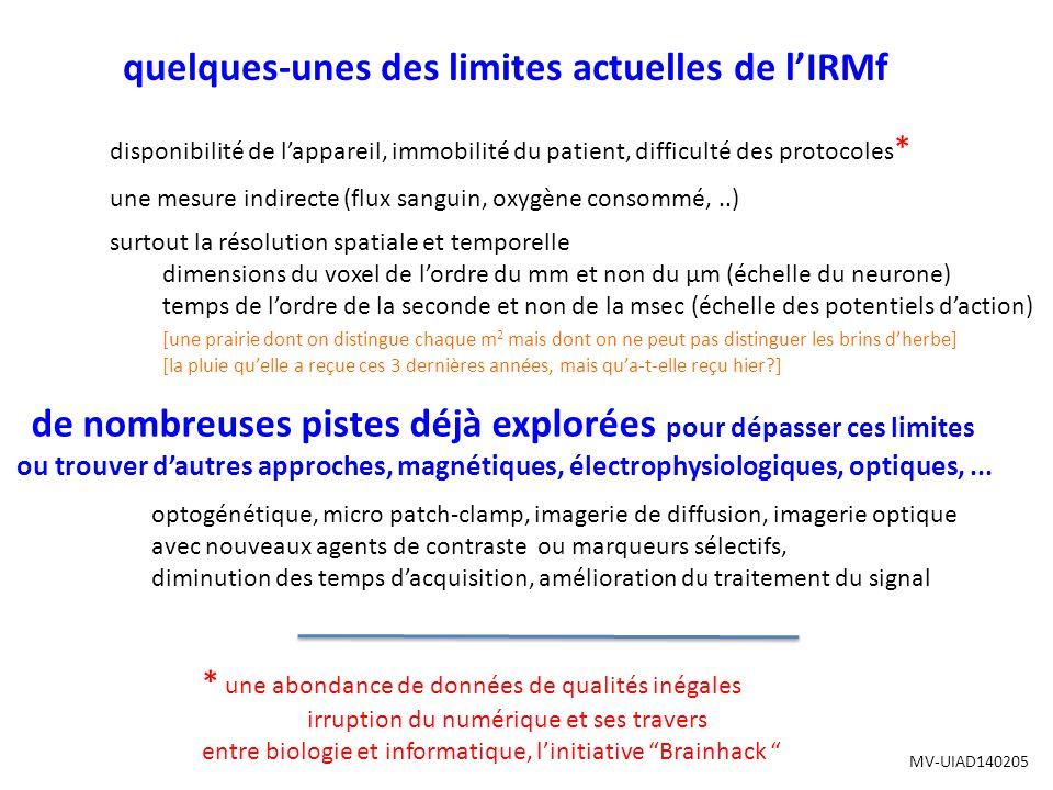 quelques-unes des limites actuelles de l'IRMf