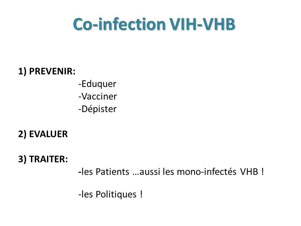 Co-infection VIH-VHB 1) PREVENIR: -Eduquer -Vacciner -Dépister 2) EVALUER 3) TRAITER: -les Patients …aussi les mono-infectés VHB .