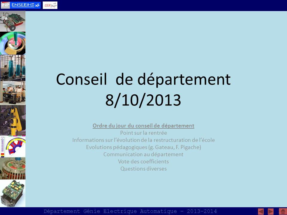Conseil de département 8/10/2013