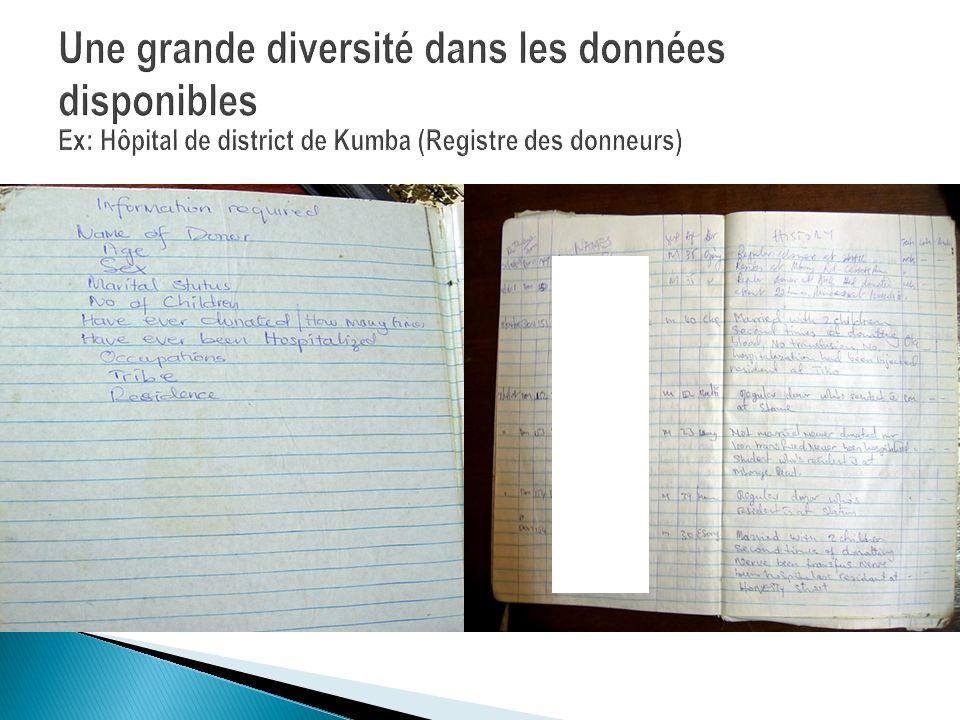Une grande diversité dans les données disponibles Ex: Hôpital de district de Kumba (Registre des donneurs)