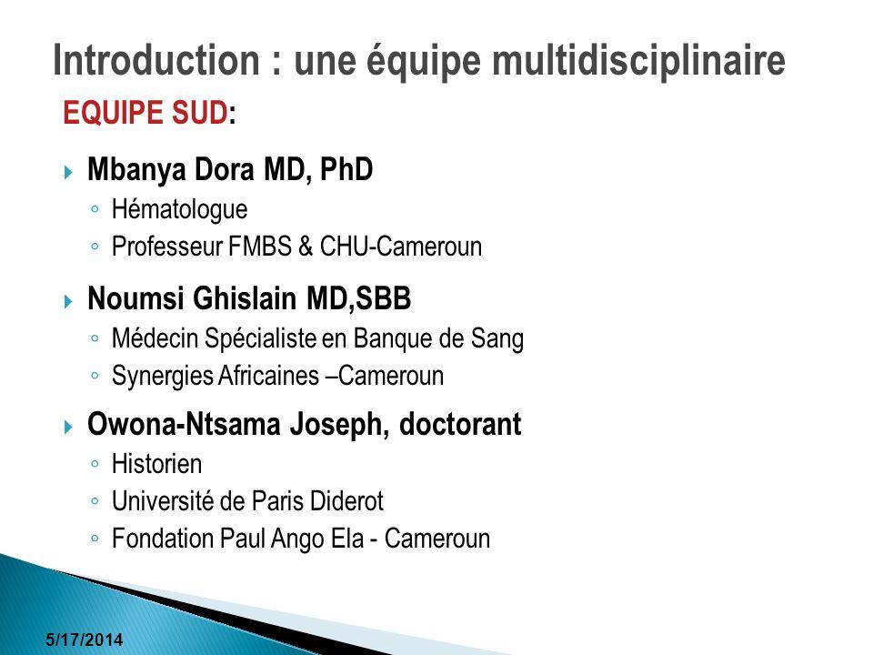 Introduction : une équipe multidisciplinaire