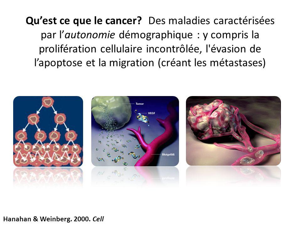 Qu'est ce que le cancer Des maladies caractérisées par l'autonomie démographique : y compris la prolifération cellulaire incontrôlée, l évasion de l'apoptose et la migration (créant les métastases)