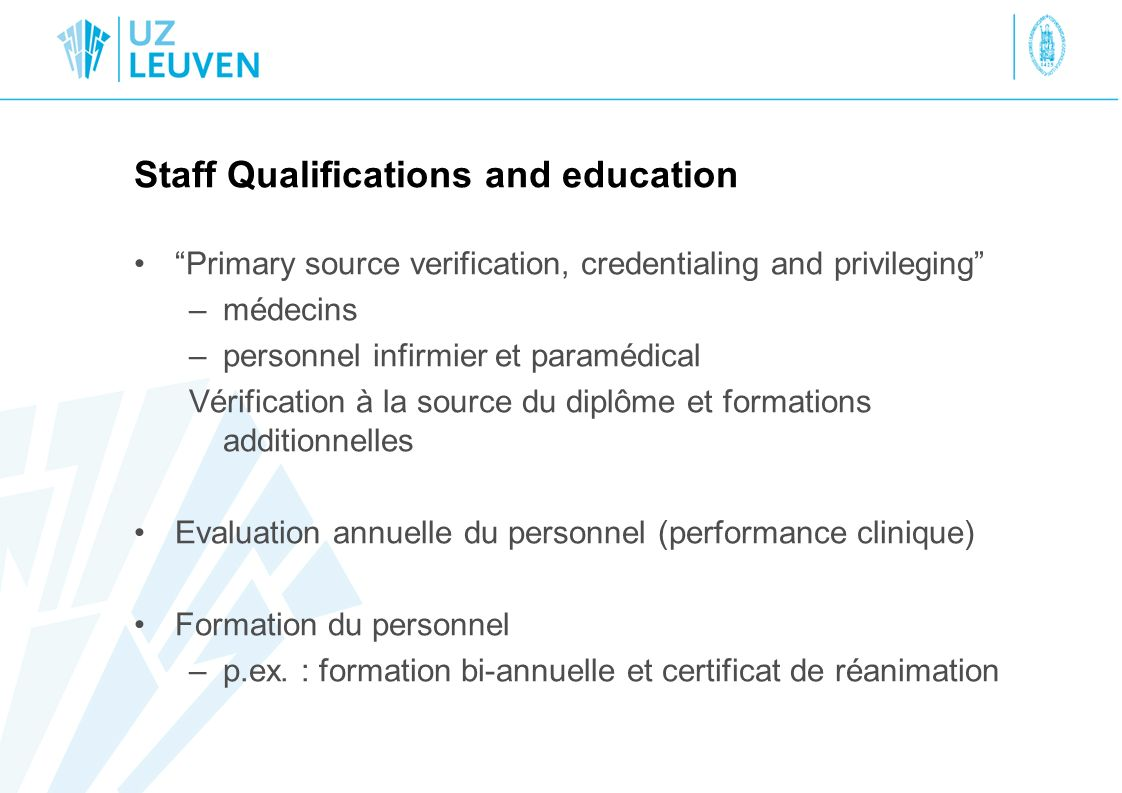 Staff Qualifications and education