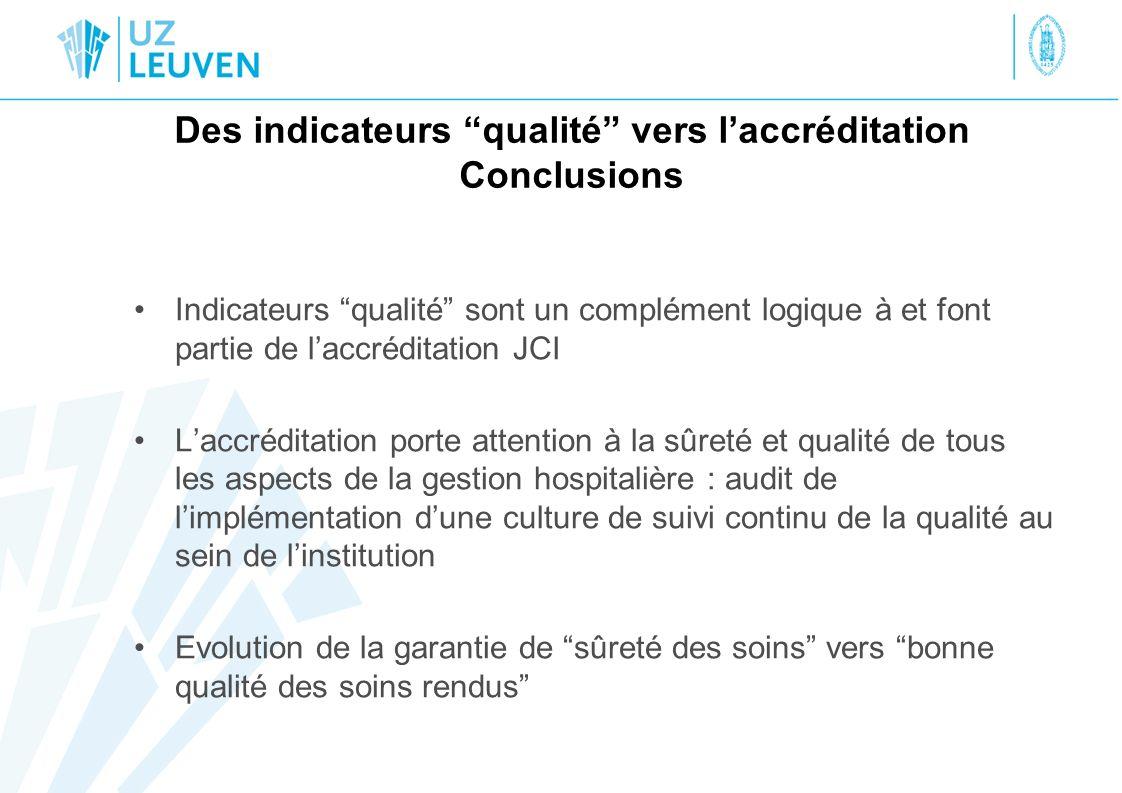 Des indicateurs qualité vers l'accréditation Conclusions