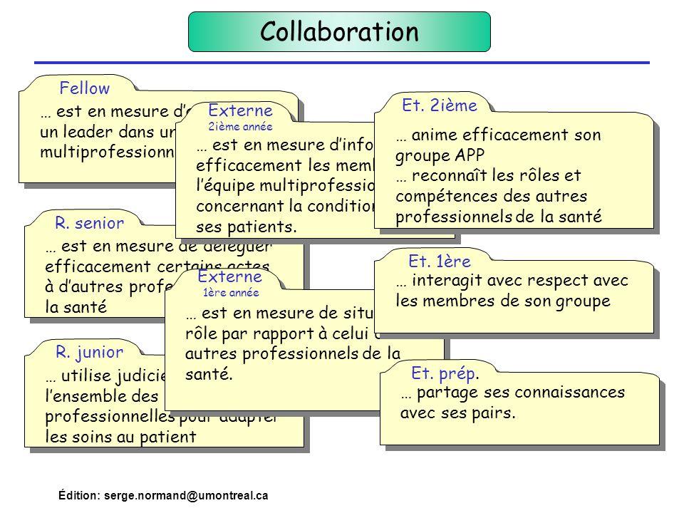 Collaboration … est en mesure d'agir comme un leader dans une équipe multiprofessionnelle. Fellow.