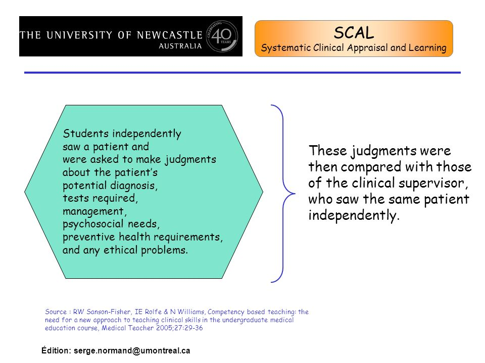 SCAL Systematic Clinical Appraisal and Learning