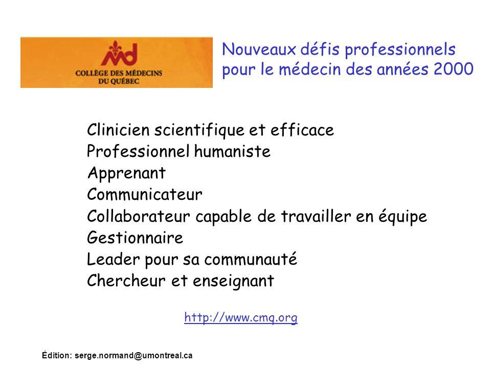 Nouveaux défis professionnels pour le médecin des années 2000