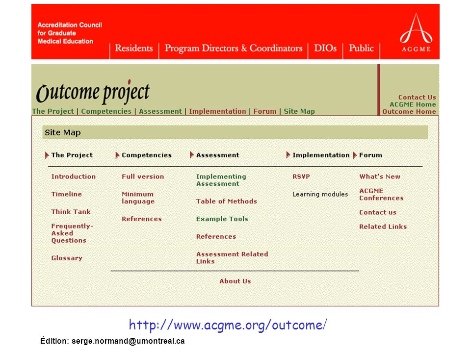 http://www.acgme.org/outcome/ Édition: serge.normand@umontreal.ca