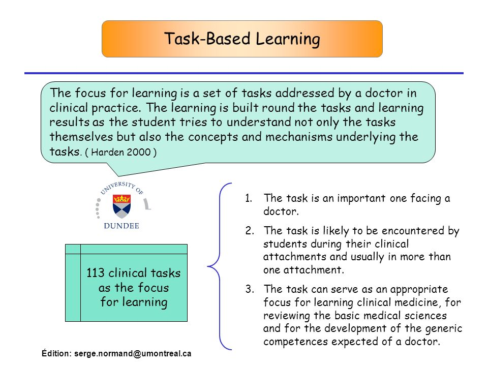113 clinical tasks as the focus for learning