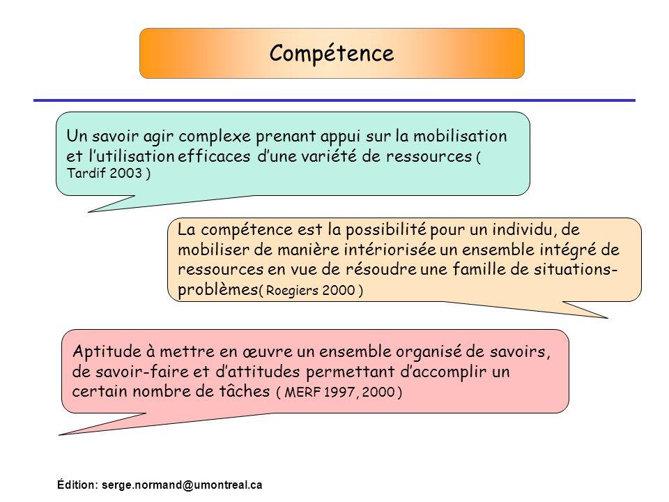 Compétence Un savoir agir complexe prenant appui sur la mobilisation et l'utilisation efficaces d'une variété de ressources ( Tardif 2003 )