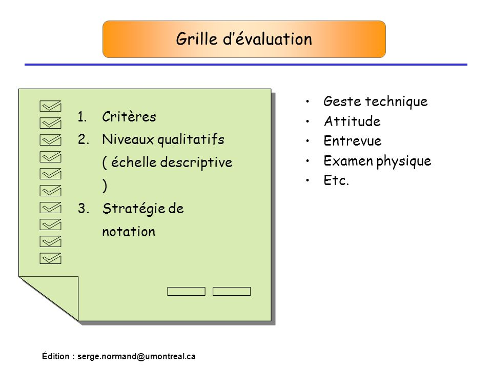 Grille d'évaluation Geste technique Critères Attitude
