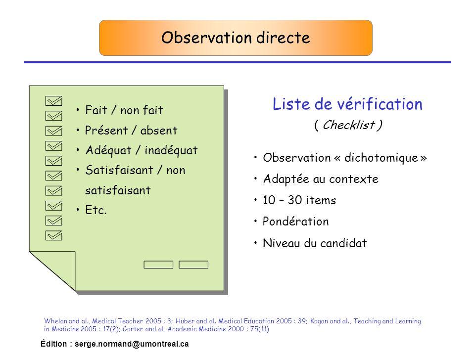 Observation directe Liste de vérification Fait / non fait
