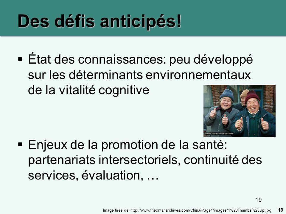 Des défis anticipés! État des connaissances: peu développé sur les déterminants environnementaux de la vitalité cognitive.