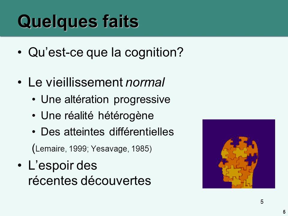 Quelques faits Qu'est-ce que la cognition Le vieillissement normal