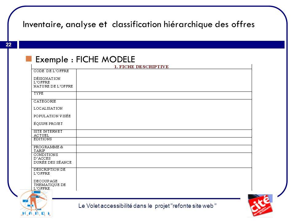 Inventaire, analyse et classification hiérarchique des offres