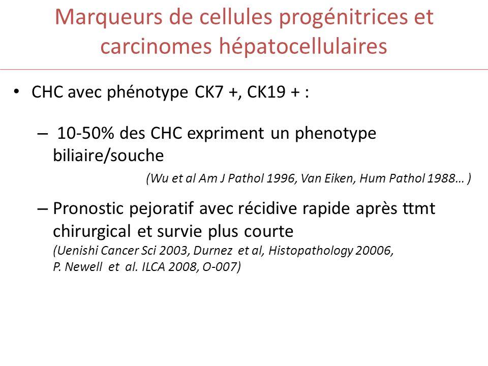 Marqueurs de cellules progénitrices et carcinomes hépatocellulaires