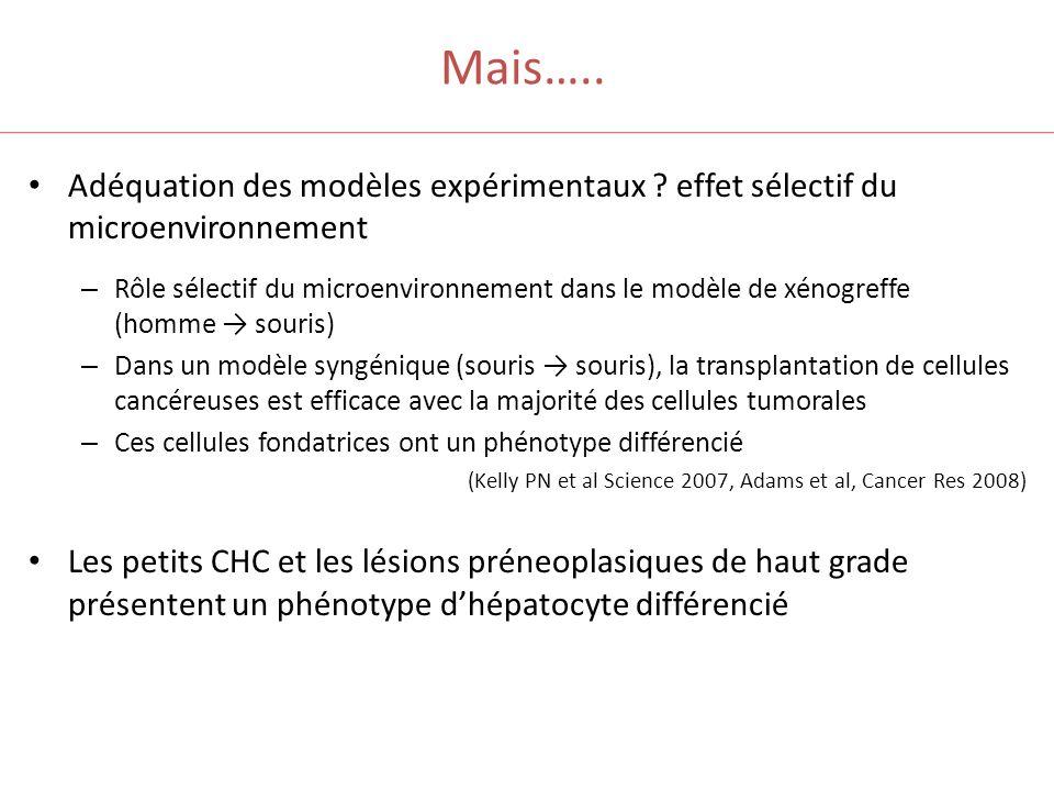 Mais….. Adéquation des modèles expérimentaux effet sélectif du microenvironnement.