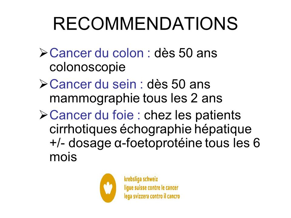 RECOMMENDATIONS Cancer du colon : dès 50 ans colonoscopie